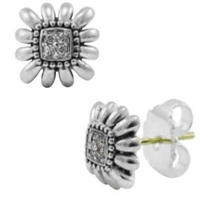 Lagos  Pave Diamond Square Stud Earrings